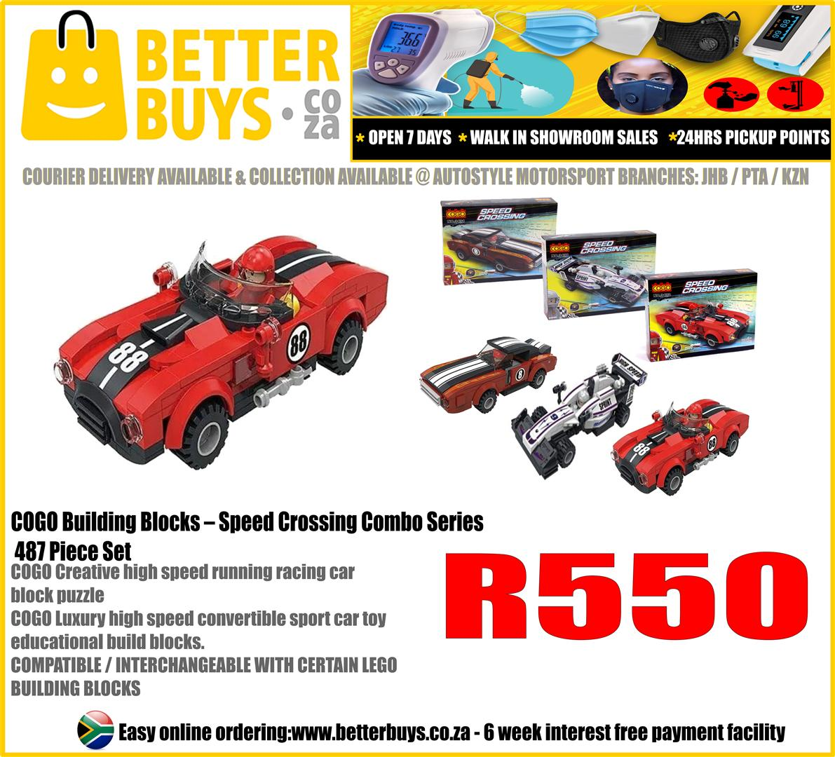 LEGO INSPIRED COGO Building Blocks – Speed Crossing Combo Series 487 Piece Set