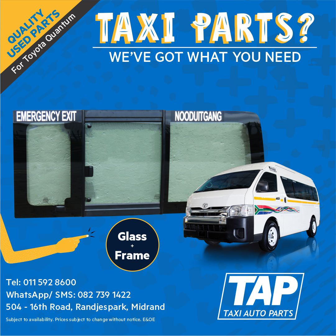 Quality used GLASS + FRAME for Toyota Quantum - Taxi Auto Parts quality used spares - TAP