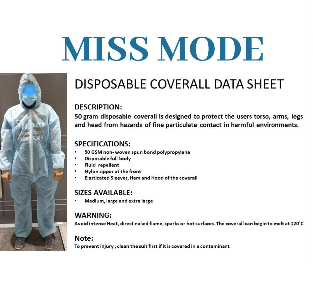 50 GSM NON – WOVEN  DISPOSABLE COVERALLS