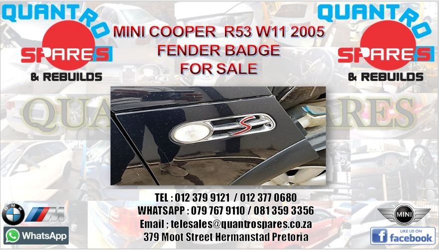 Mini cooper fender logo for sale