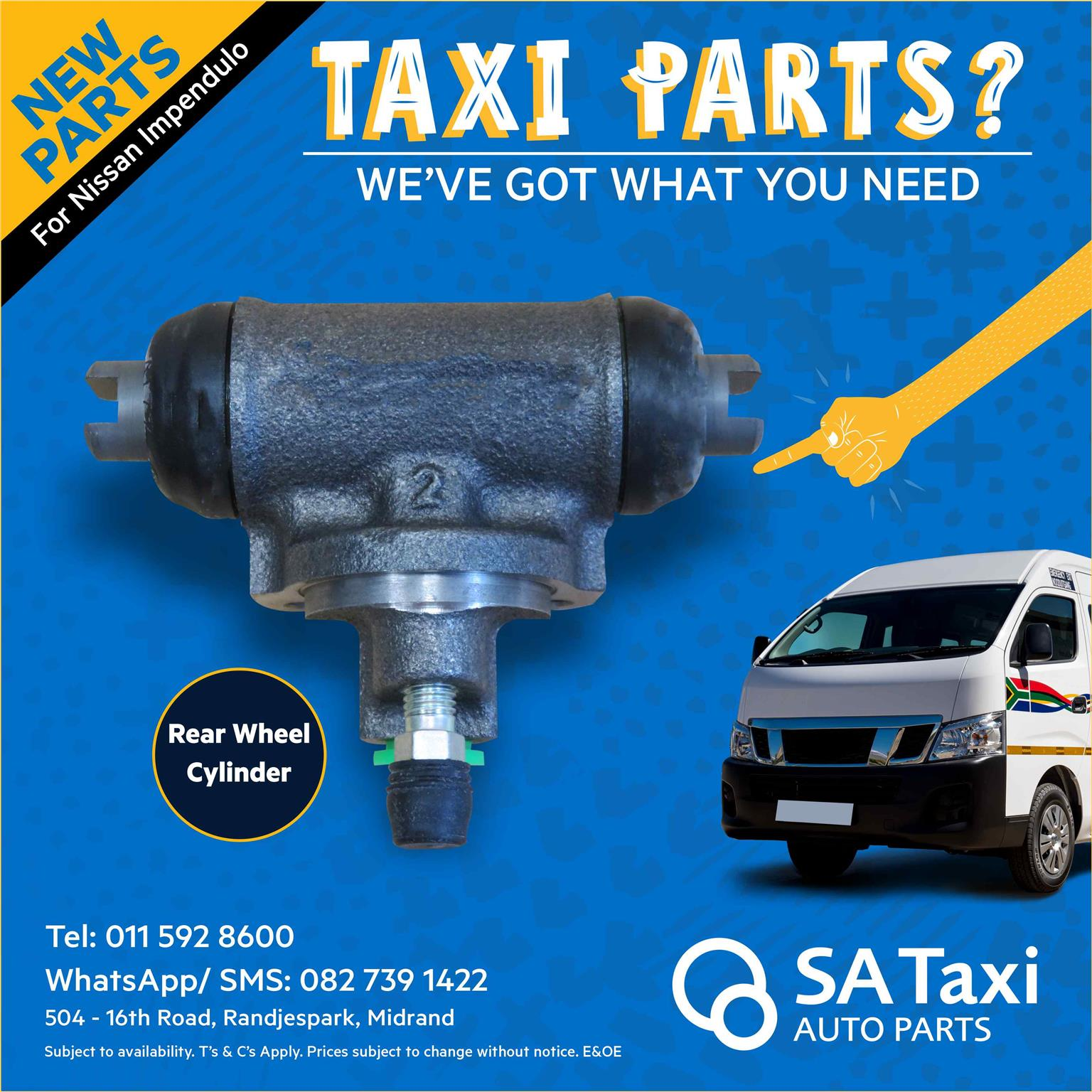 NEW Rear Brake Wheel Cylinder for Nissan NV350 Impendulo - SA Taxi Auto Parts quality spares