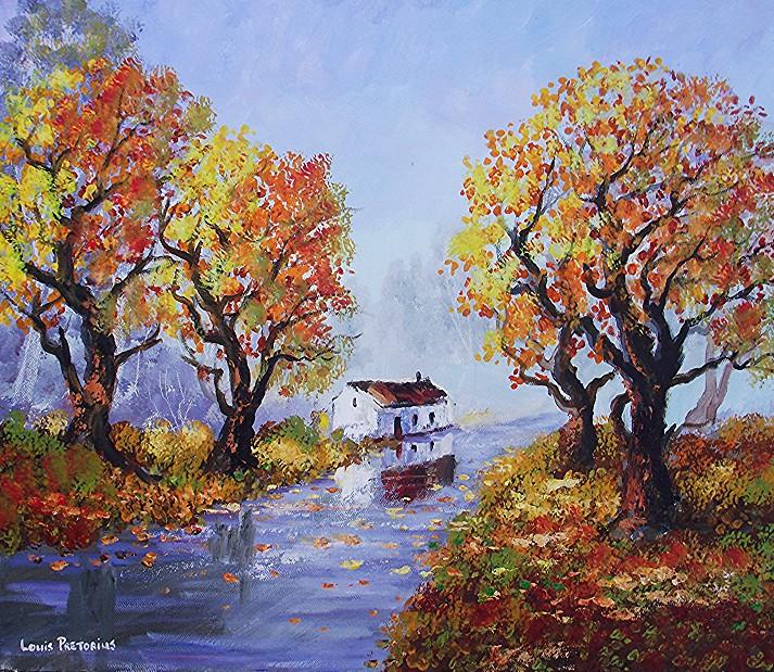 Autumn trees near wet road
