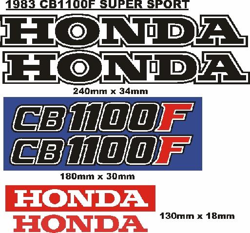 1983 CB 1100F Super Sport decals stickers vinyl cut graphics