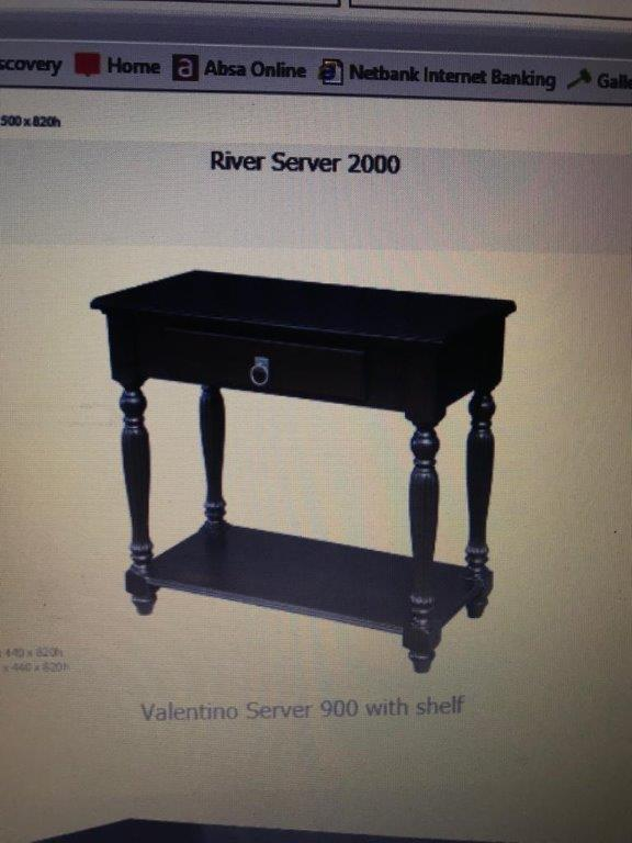 WOODEN WAYS WOOD SERVER & CHAIR. AS NEW. Solid wood Wooden Ways Valentino MAH Server