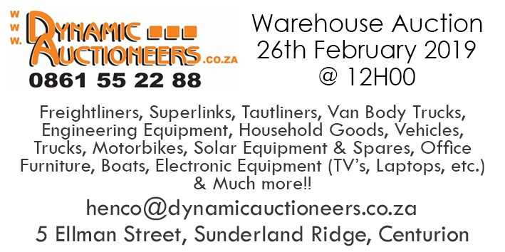 Warehouse Auction 26 February 2019 at 12H00