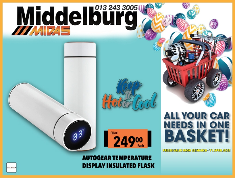 Keep it Hot or Cool with Autogear Temperature Display Insulated Flask! Only R249