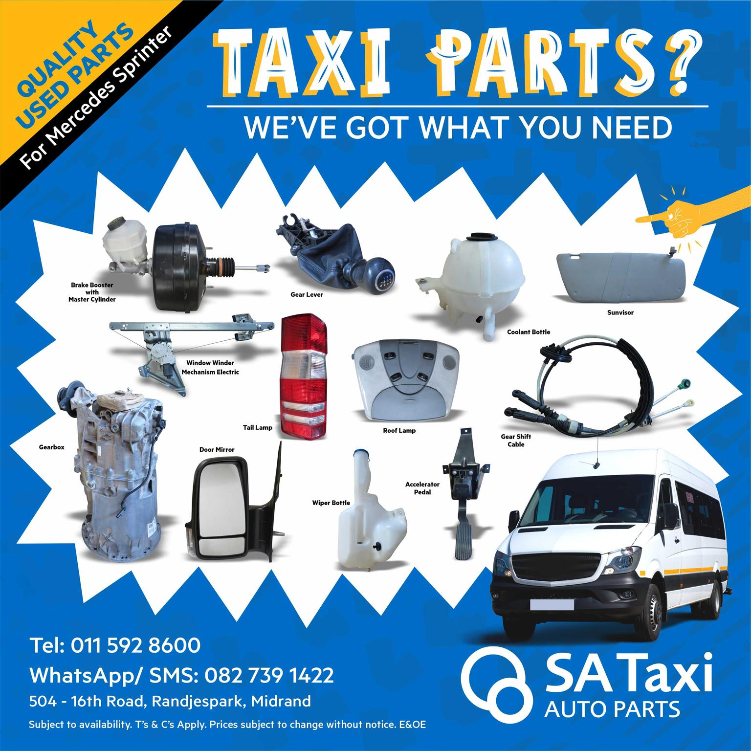 Taxi Service Parts? We've got what you need! SA Taxi Auto Parts quality spares