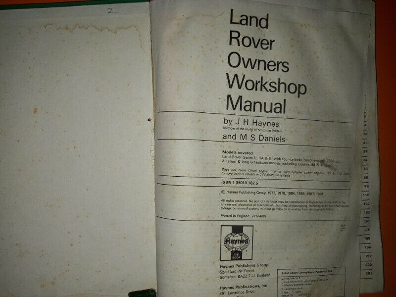 Land Rover (4-cyl, petrol) - 1958 To 1985 - Owners Workshop Manual - Haynes.