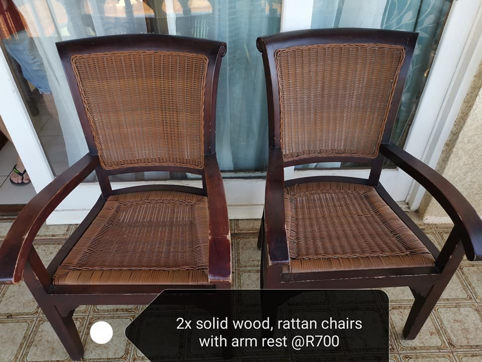 Rattan chairs with arm rests