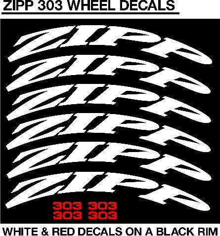 ZIPP 303 wheel rim and frame decals sticker graphics sets
