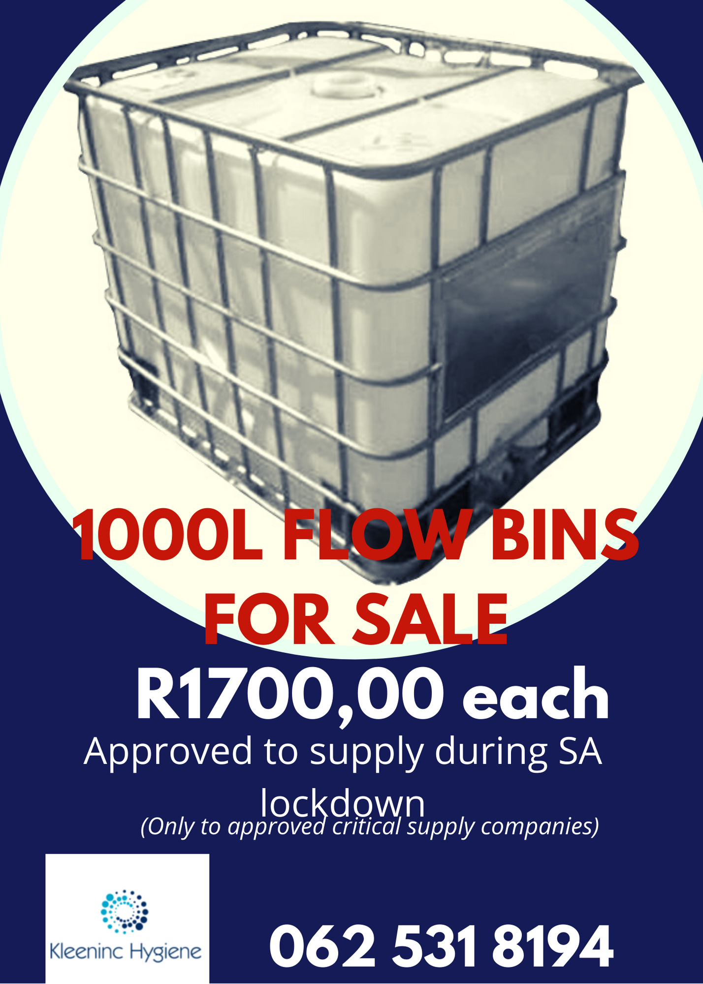 Re-Conditioned Flowbins for Sale - R1700