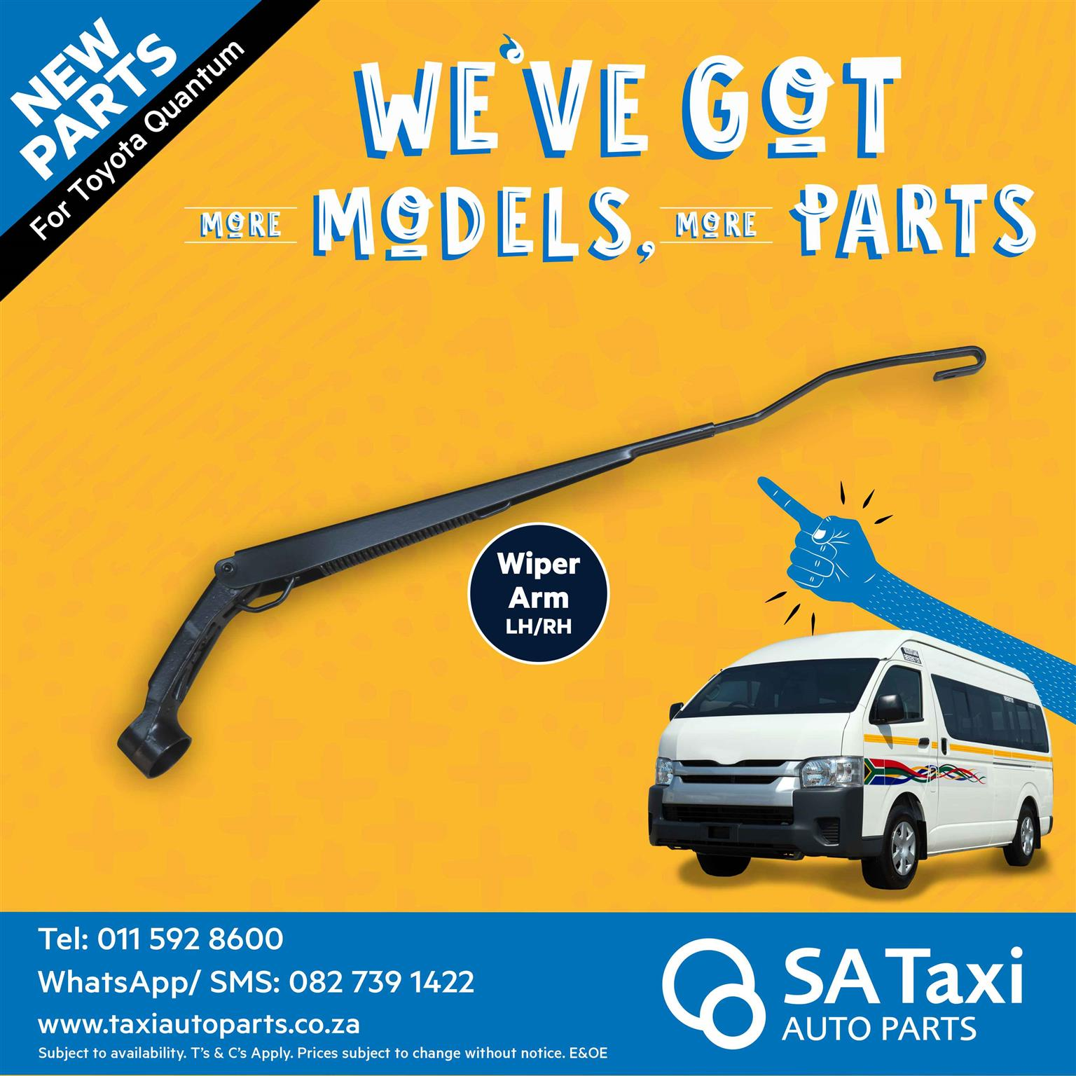 NEW left and right hand Wiper Arms suitable for Toyota Quantum - SA Taxi Auto Parts