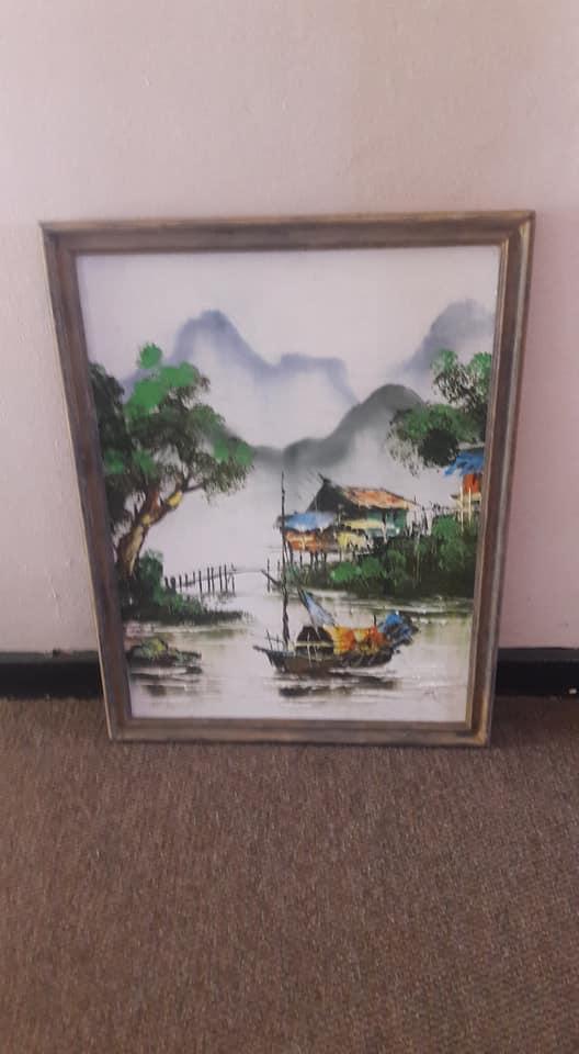 Misty Mountain river scene framed painting