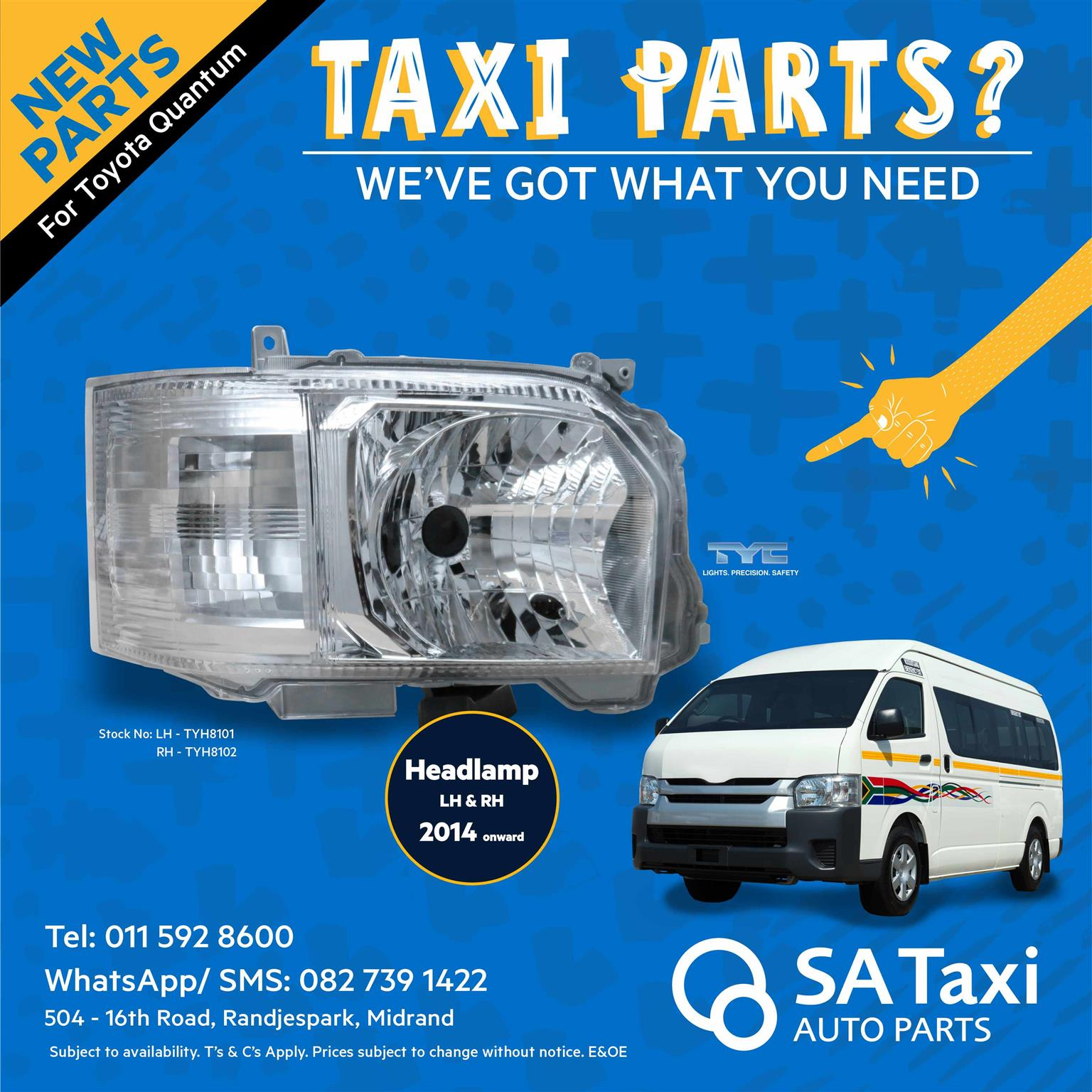 New Headlamp 2014 onwards suitable for Toyota Quantum - SA Taxi Auto Parts