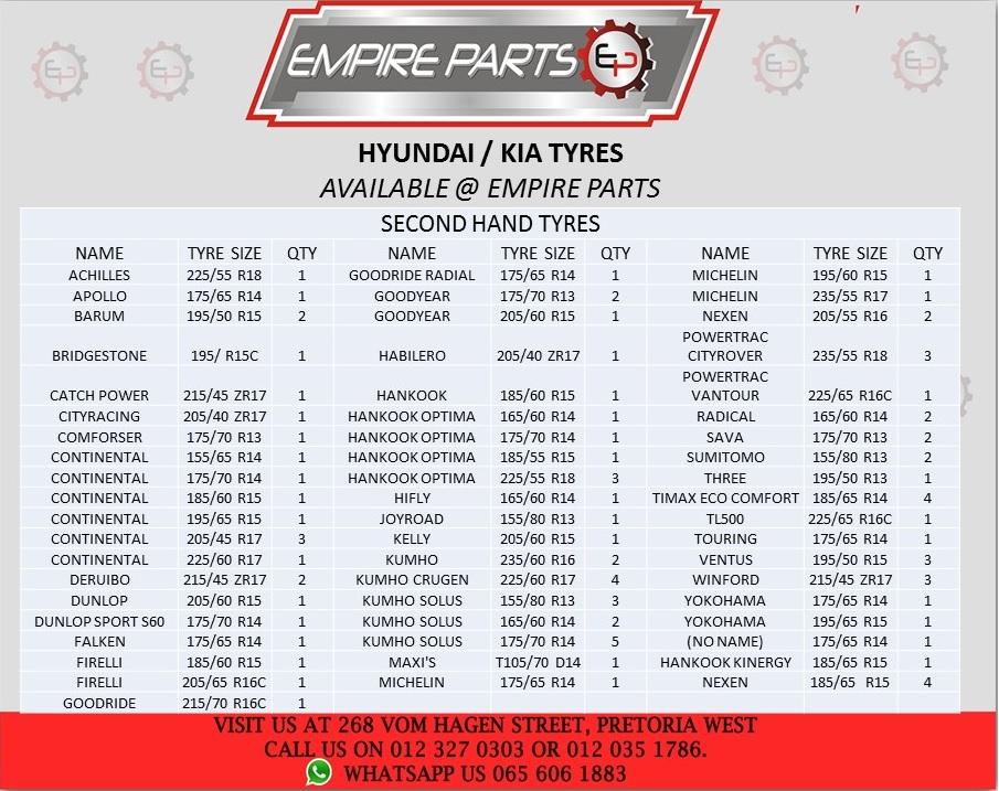 *HYUNDAI / KIA - USED TYRES*