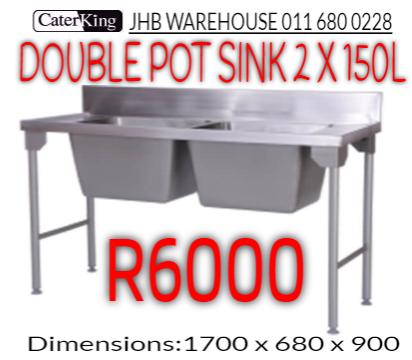 DOUBLE POT SINK 150L X 2
