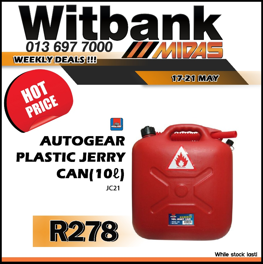 AutoGear Plastic Jerry Can 10L  at Midas Witbank!