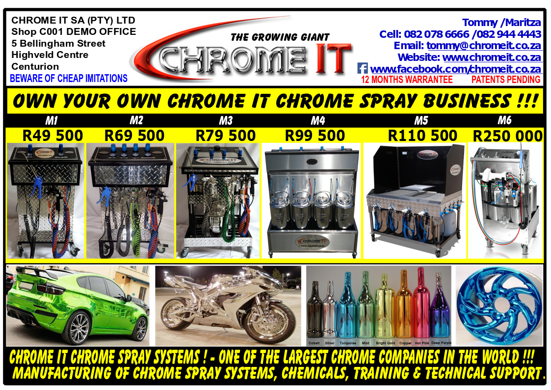 CHROME IT CHROME SPRAY SYSTEMS & CHEMICALS FOR SALE - VARIOUS MODELS  AVAILABLE | Junk Mail