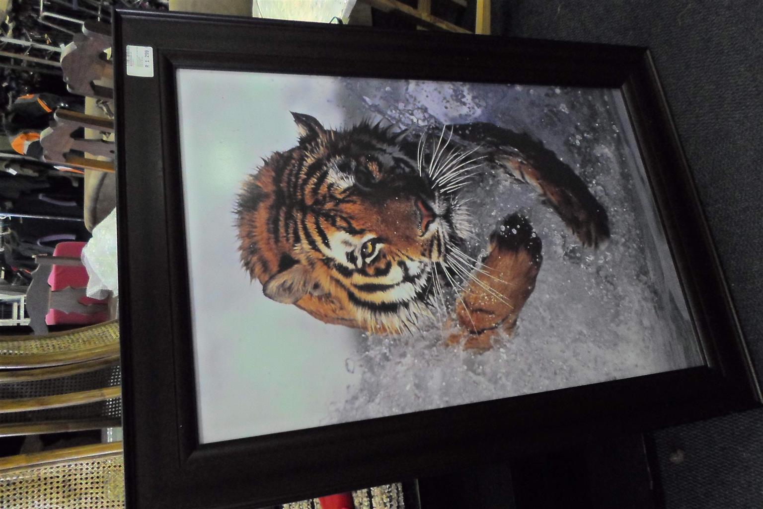 Wooden Frame Tiger Painting