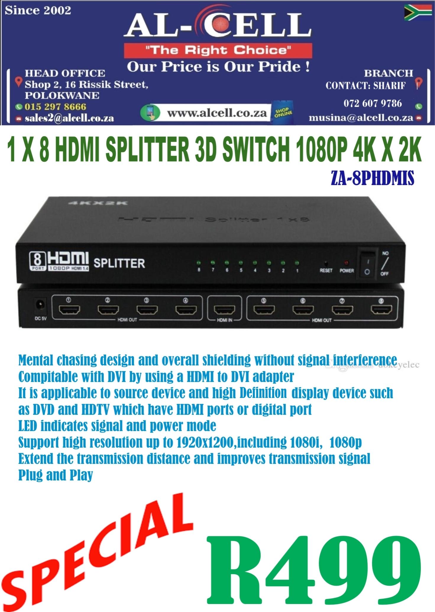 1X8 HDMI SPLITTER 3D SWITCH 1080P 4K X 2K