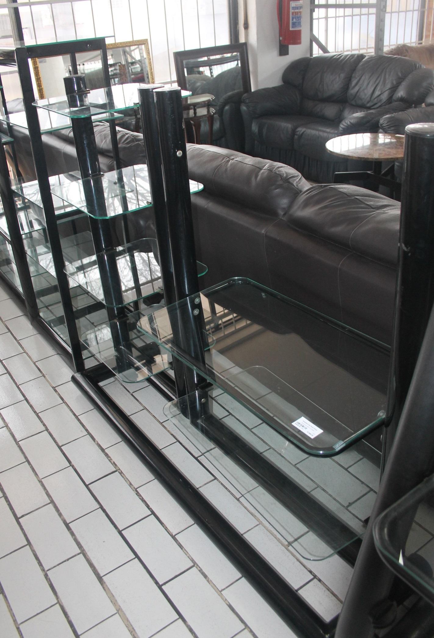 Black glass TV stand S045010A #Rosettenvillepawnshop