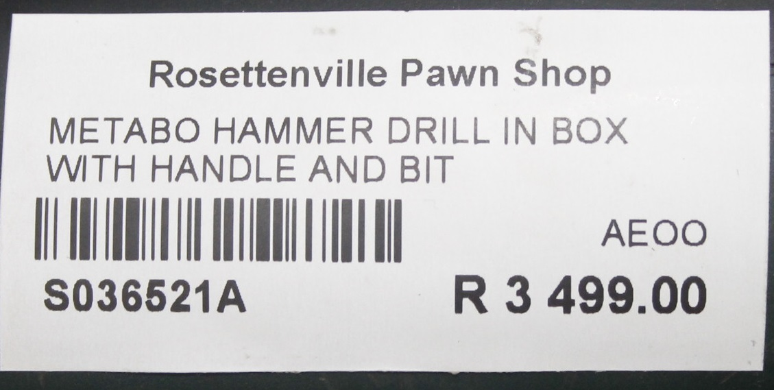 Metabo hammer drill in box with handle and bit S036521A #Rossettenvillepawnshop