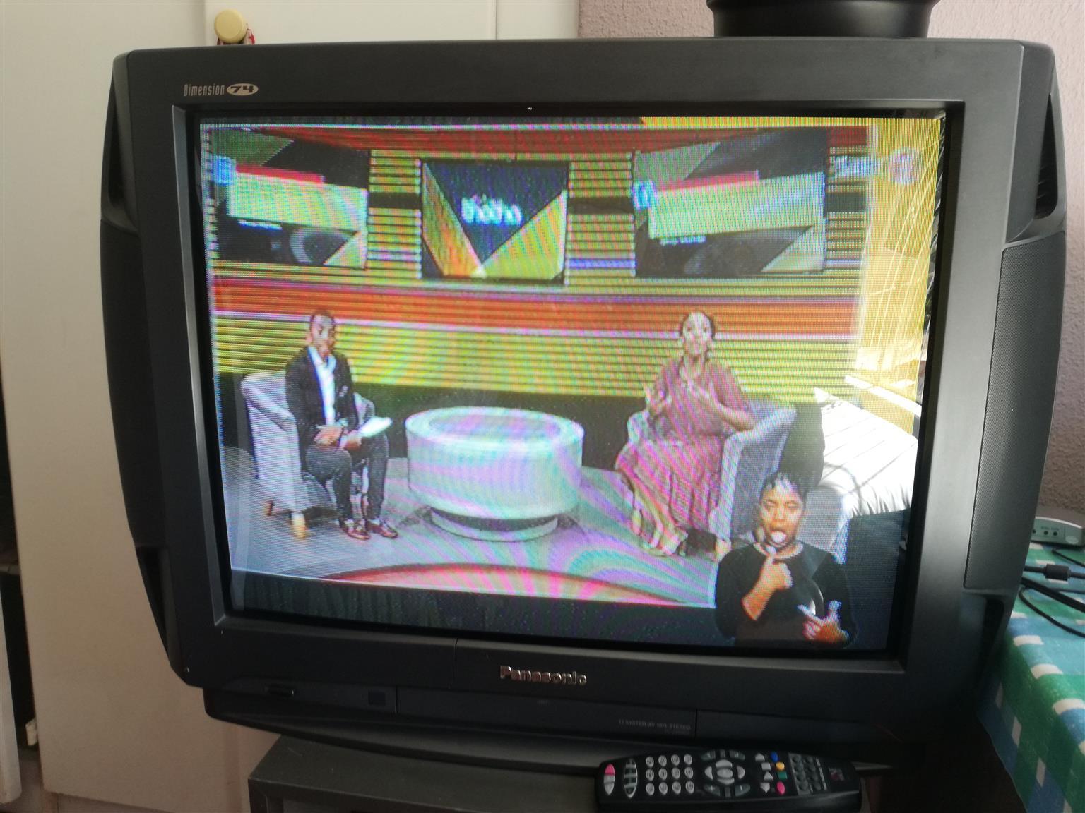 Panasonic 74cm box tv with universal remote control.