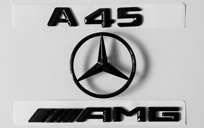 Merc A-Class (W176) A45 AMG Boot Badge Set (3pcs)- Gloss Black