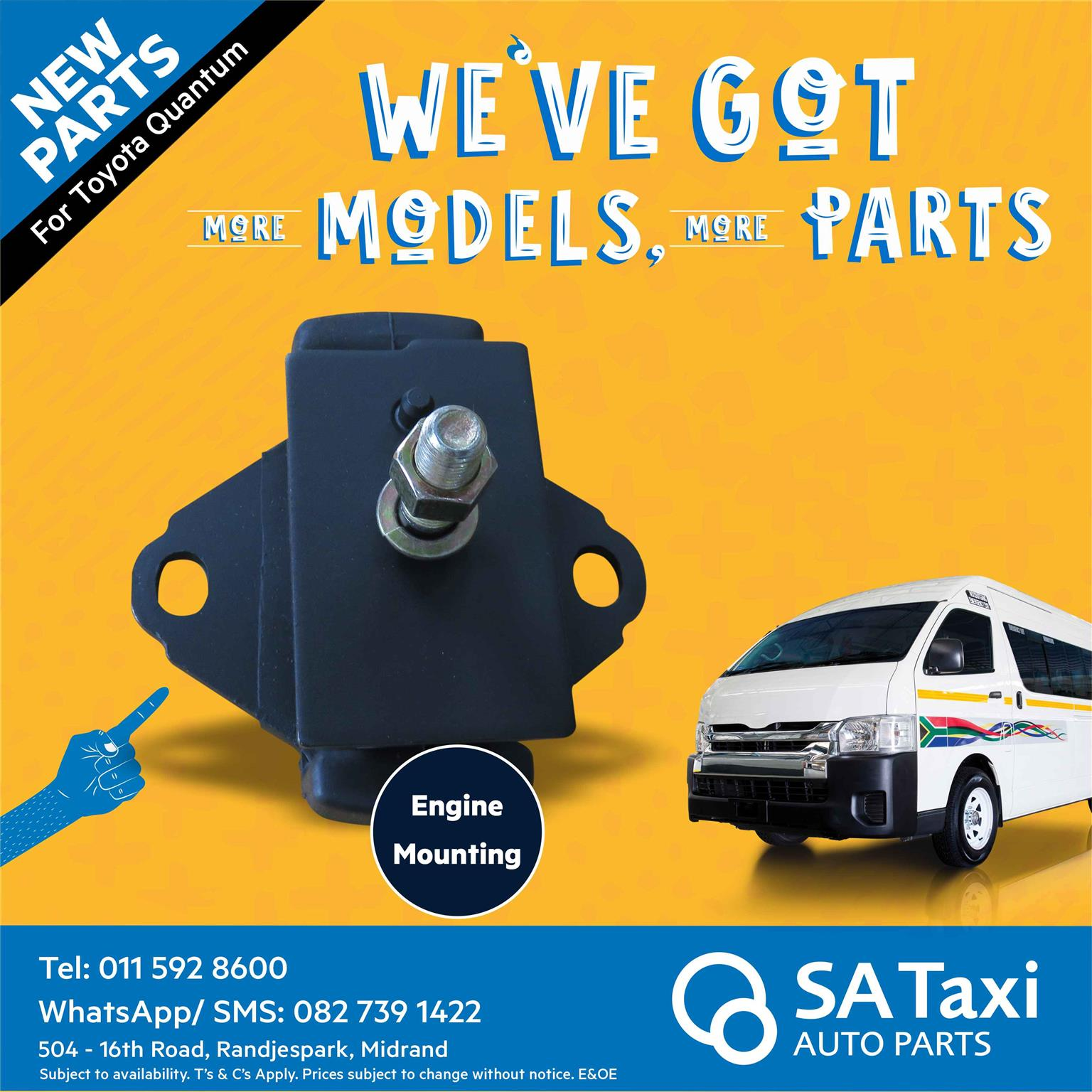 NEW Engine Mounting suitable for Toyota Quantum - SA Taxi Auto Parts quality spares