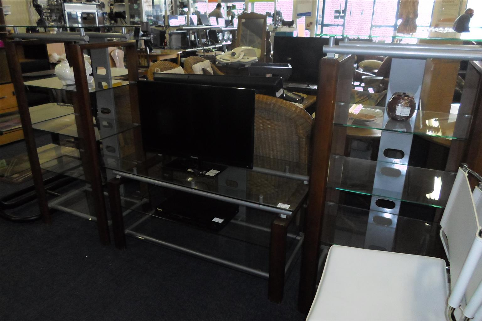 Wooden Glass 3pc. TV Stand - B033043490-1