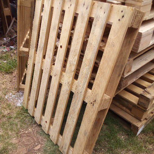Wooden pallets.