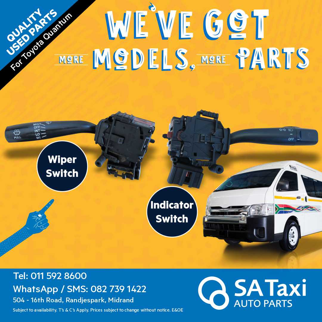 Wiper Switch suitable for Toyota Quantum - SA Taxi Auto parts quality spares