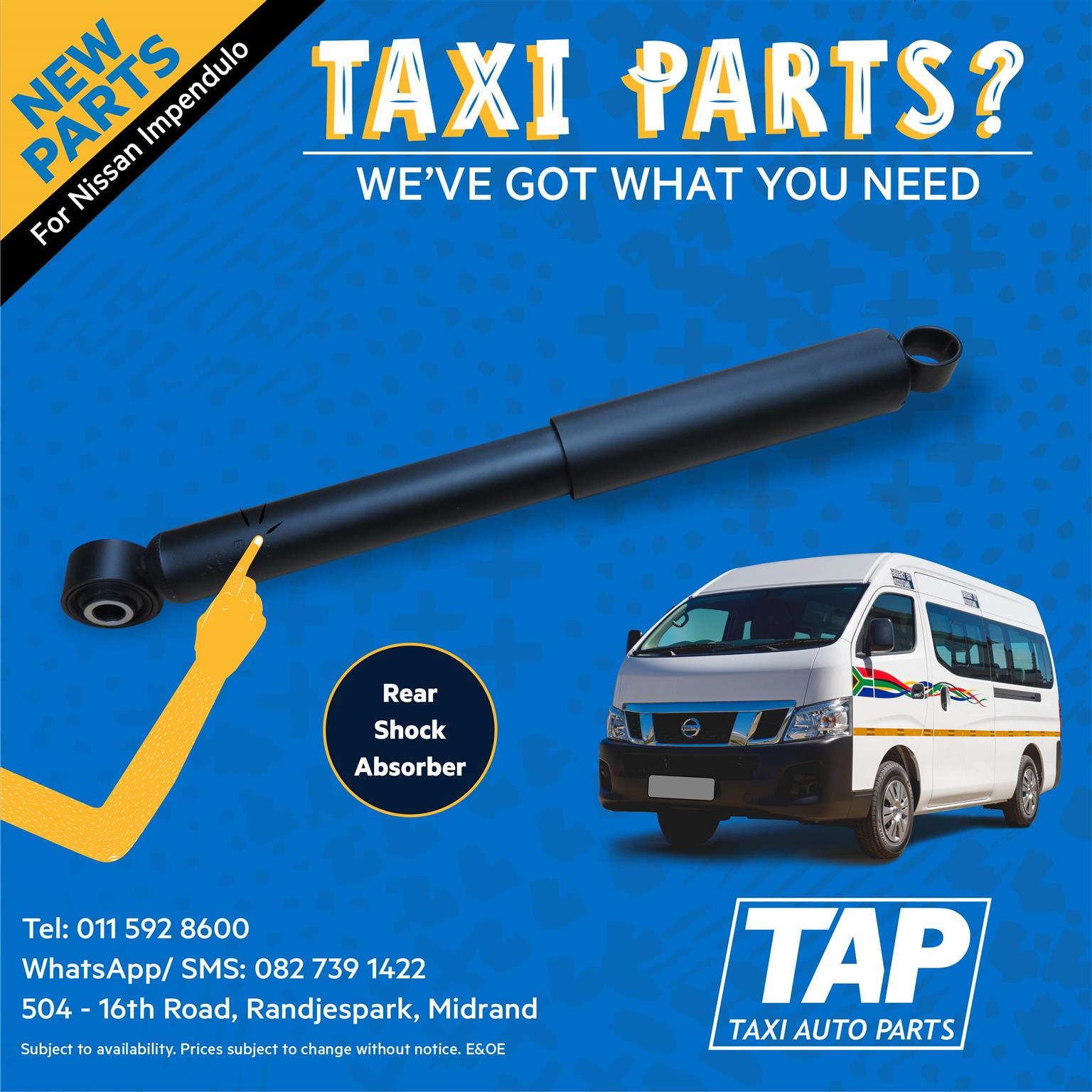 NEW Rear Shock Absorber for Nissan Impendulo - Taxi Auto Parts quality spares - TAP