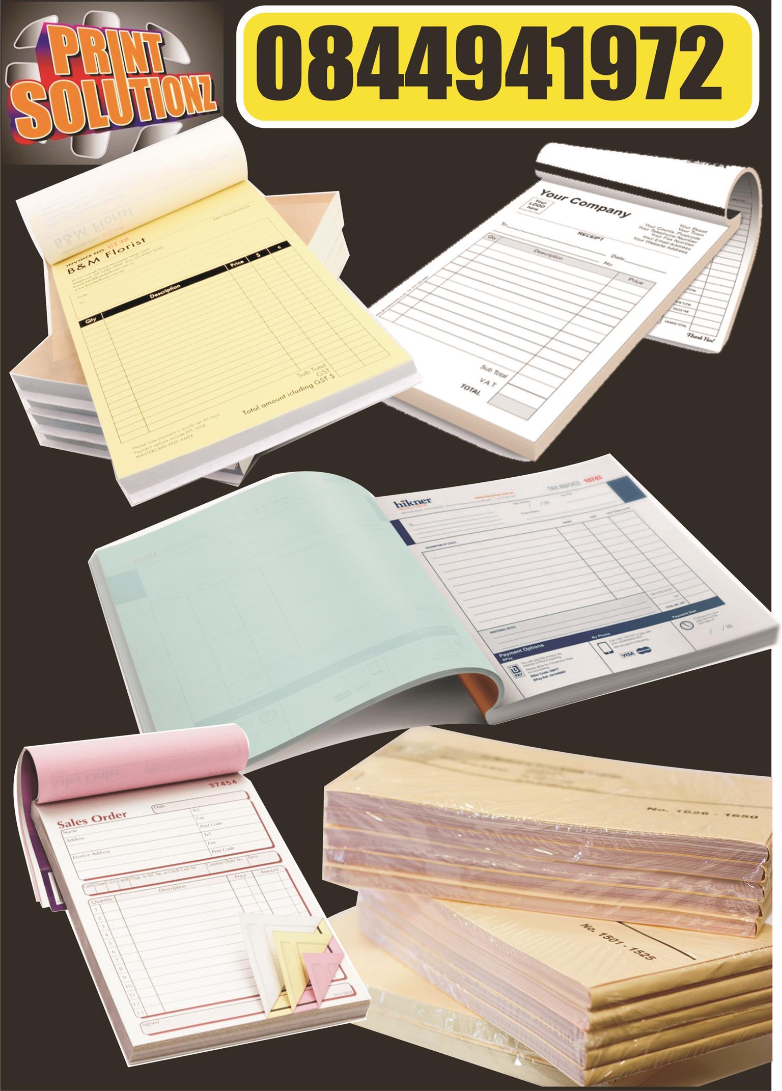 Invoice books and copy paper