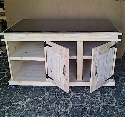 Kitchen Island Farmhouse Elegant series 1600 with 4 doors and mobile - Raw