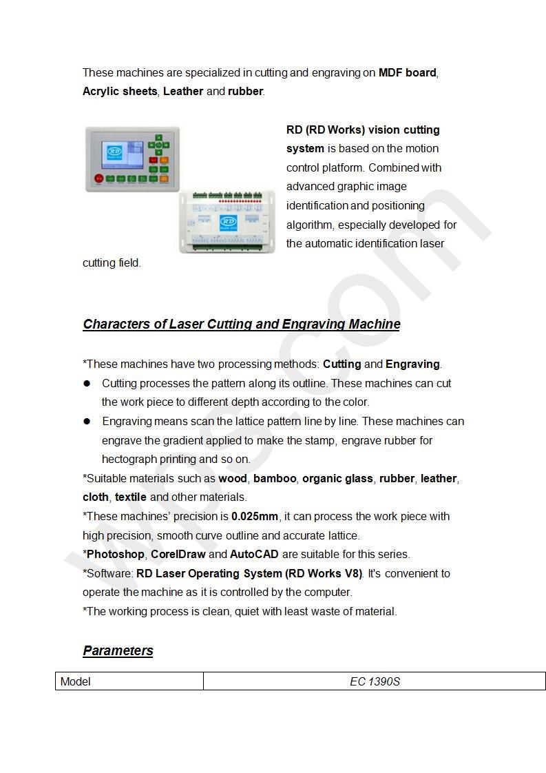 Laser Cutting & Engraving Machine 1390S  80W