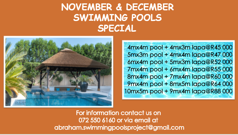 NOVEMBER AND DECEMBER SWIMMING POOLS SPECIAL
