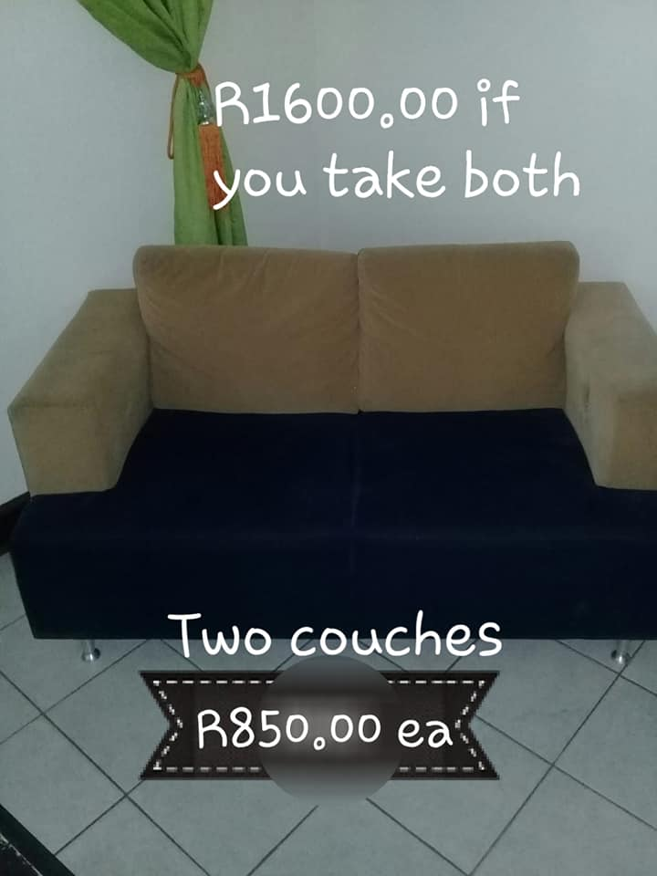 2 Black and beige couches for sale