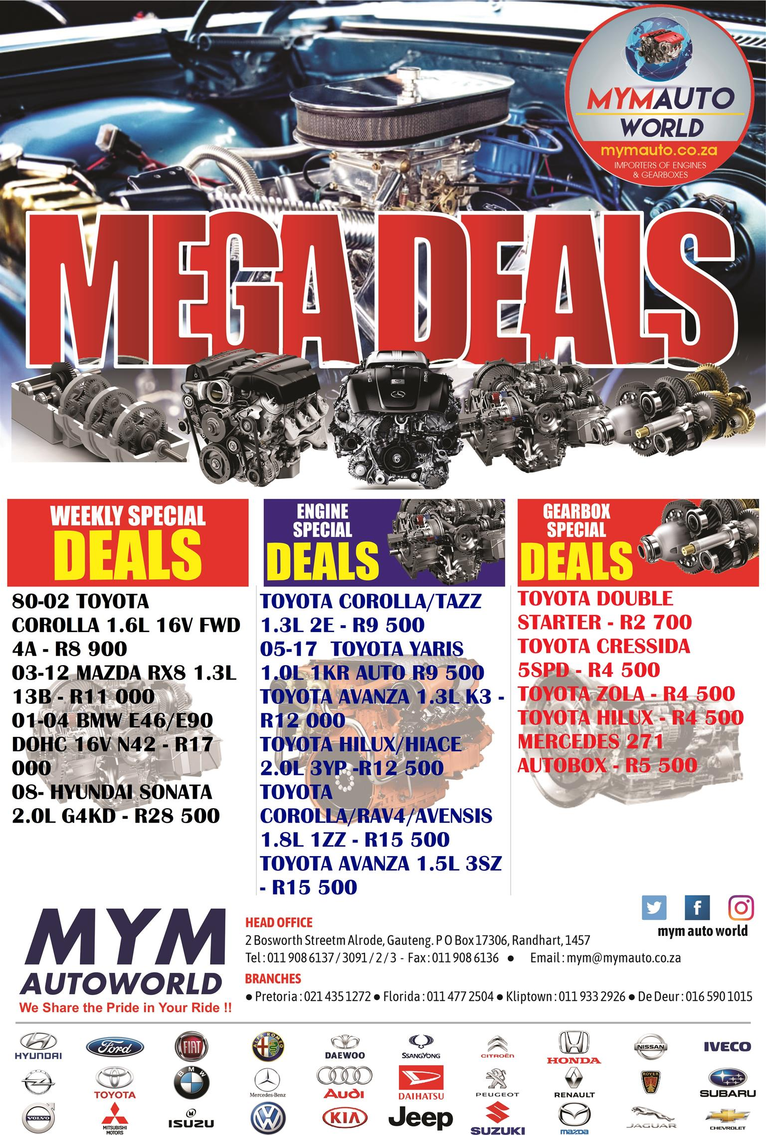 MYM AUTOWORLD WEEKLY SPECIALS IN STORE TODAY