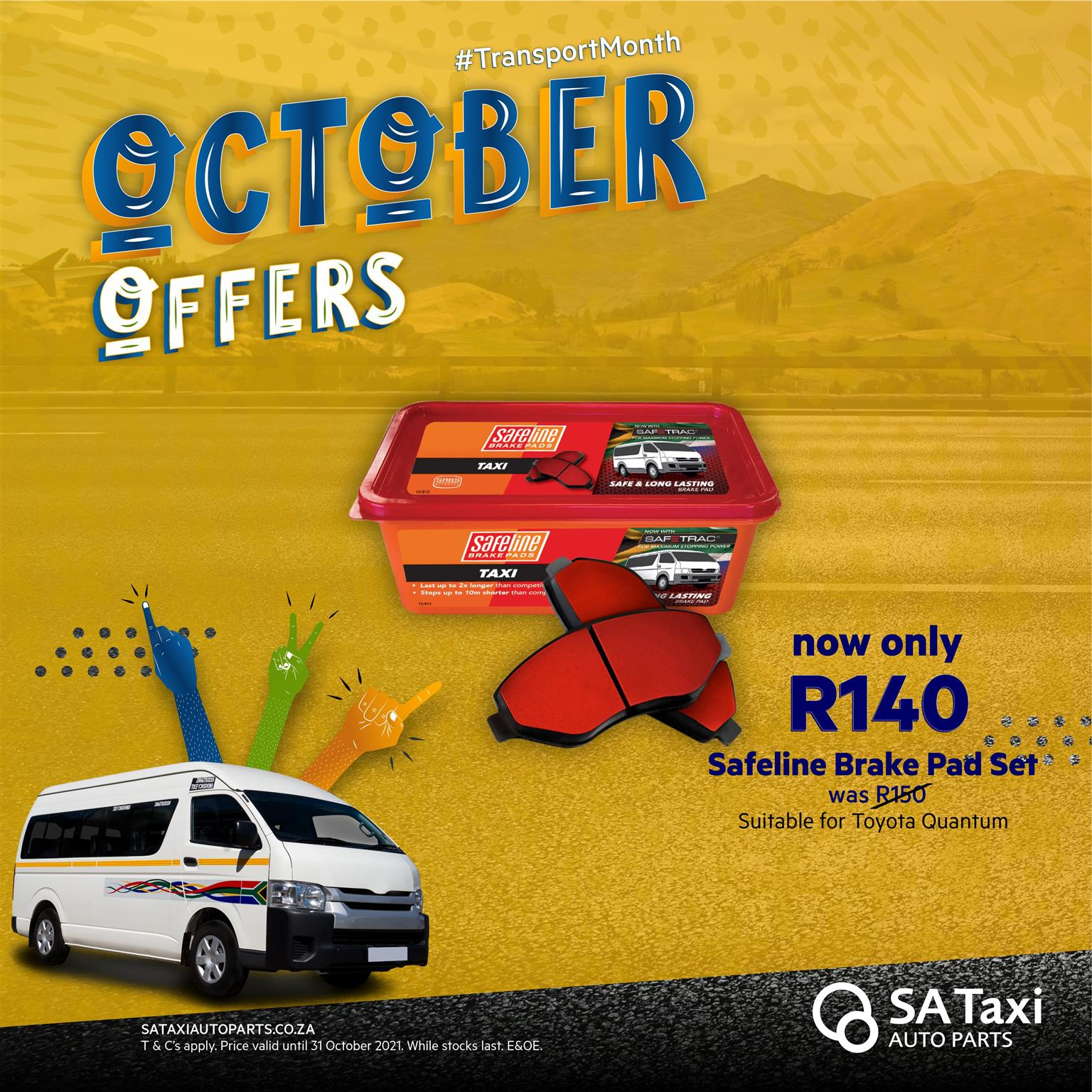 Safeline Taxi Brake Pad Set for Toyota Quantum