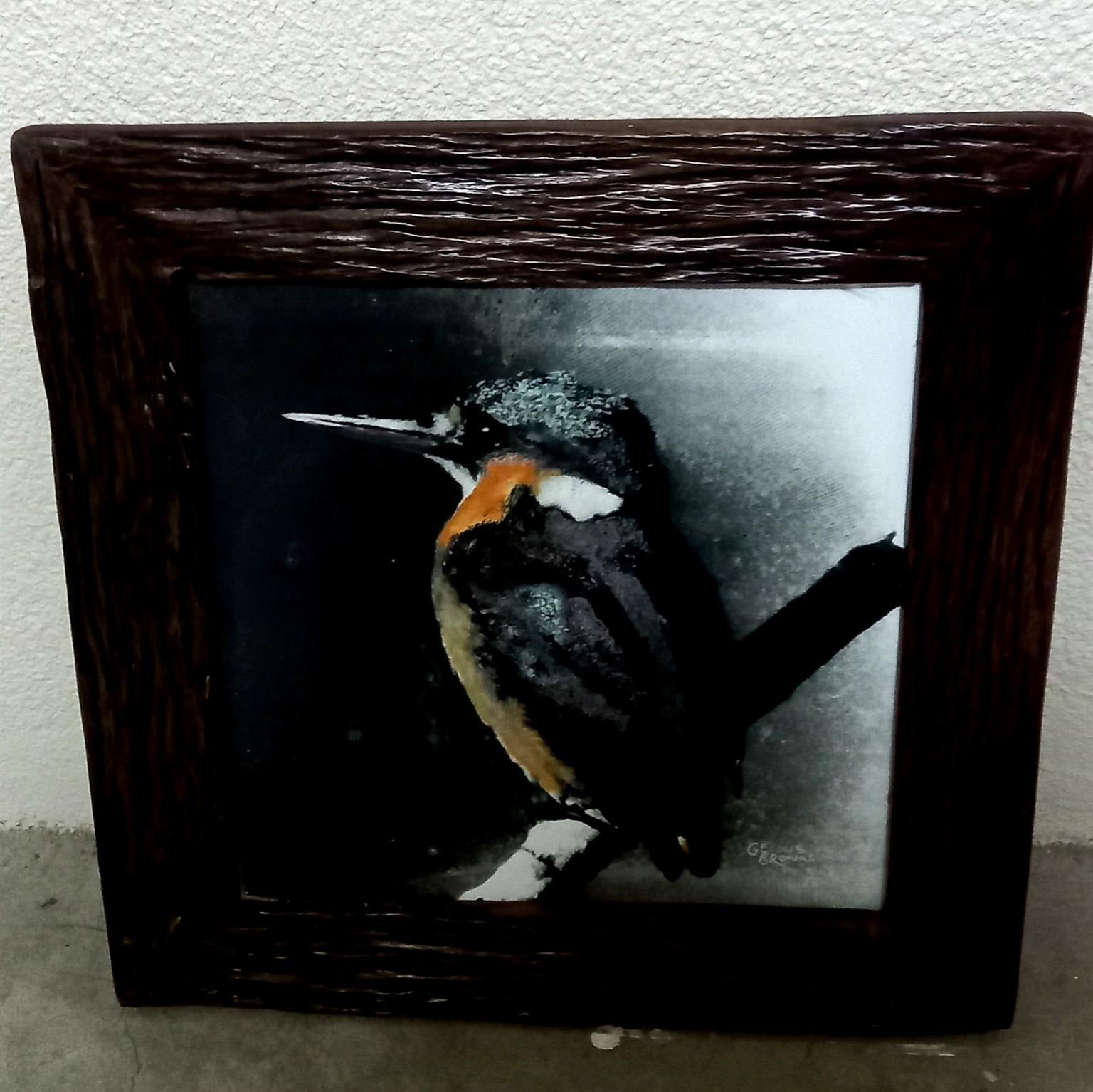 Kingfisher Ceramic Painting With Wooden Frame