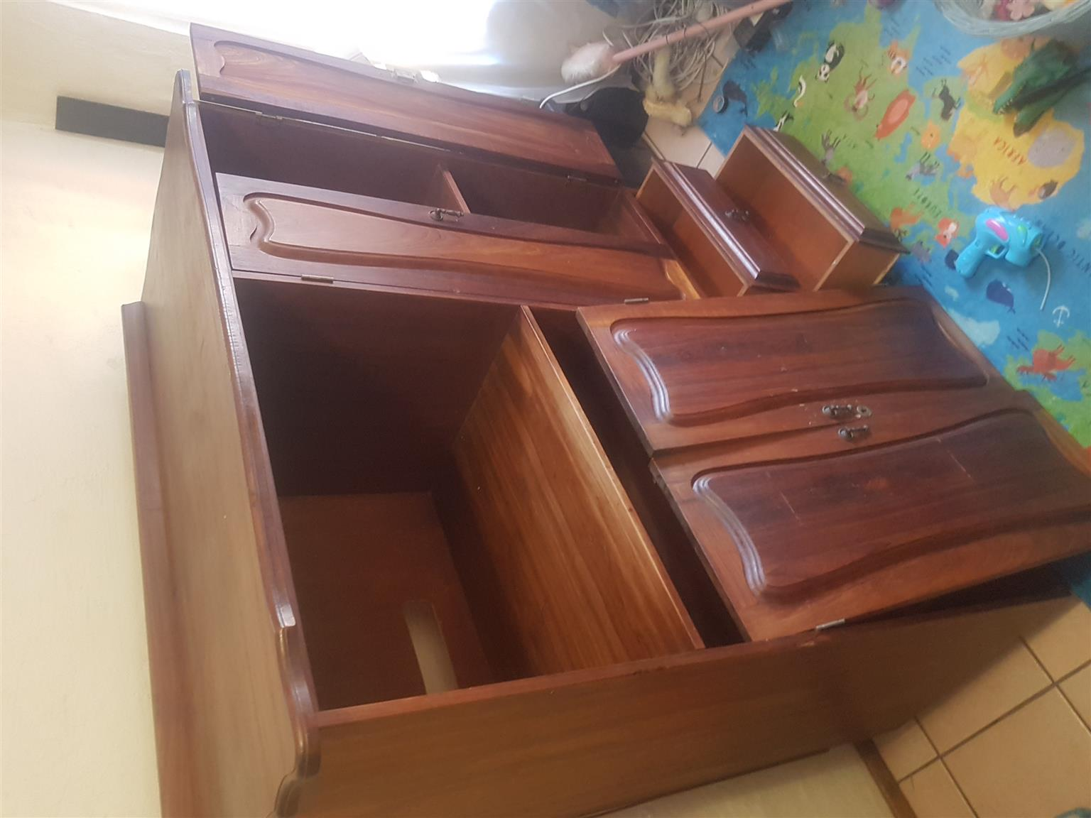 Large Solid Kiaat Wood hand crafted cupboard
