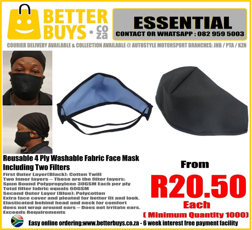 Reusable Fabric Washable Face Mask