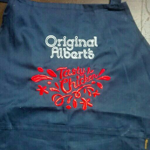 Embroidery and screen printing.