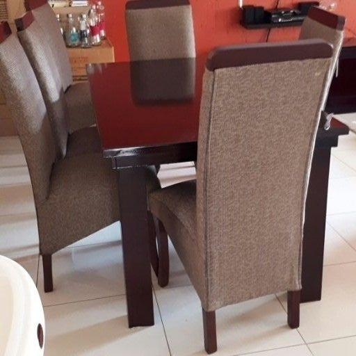 New mahogany brown 6 seater table with chairs