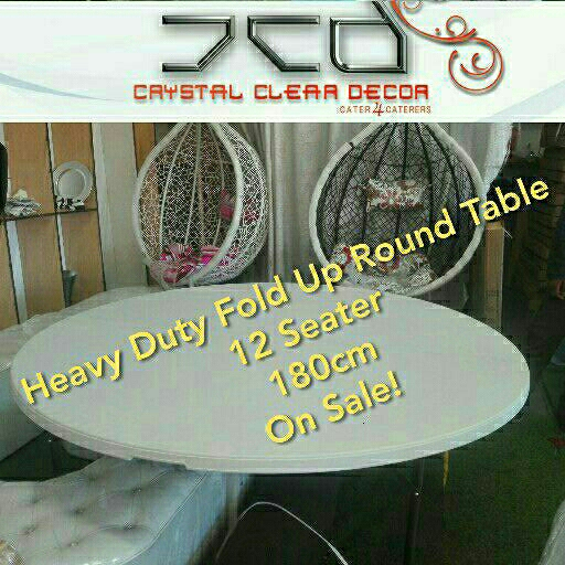Round Plastic Fold Up Tables 180cm For Sale at Factory Prices