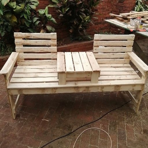 Awe Inspiring Double Pallet Bench And Table Combo Junk Mail Customarchery Wood Chair Design Ideas Customarcherynet