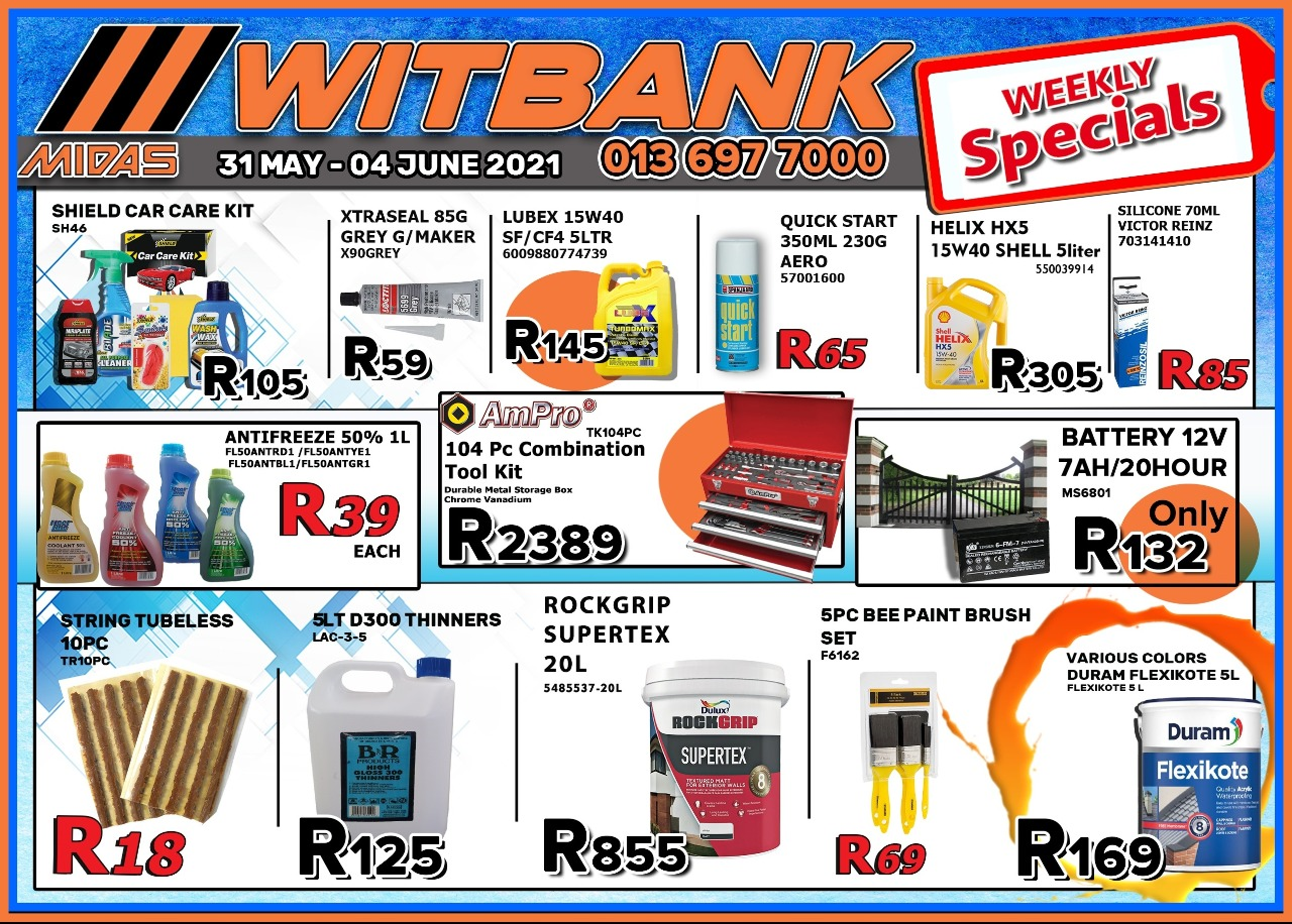 Weekly Specials now on at Midas Witbank!