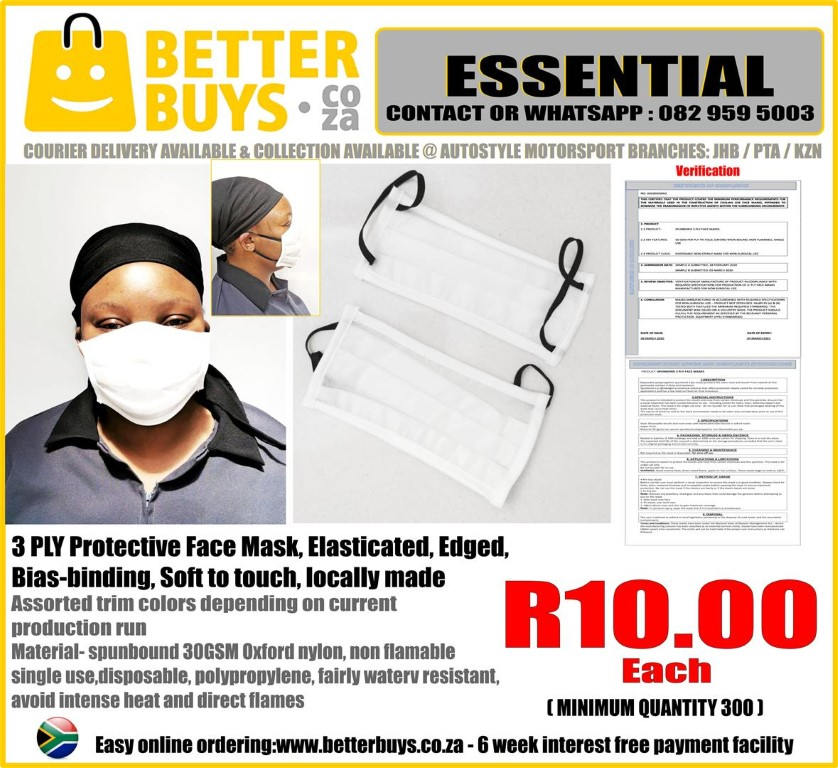 3 PLY Protective Face Mask - Elasticated