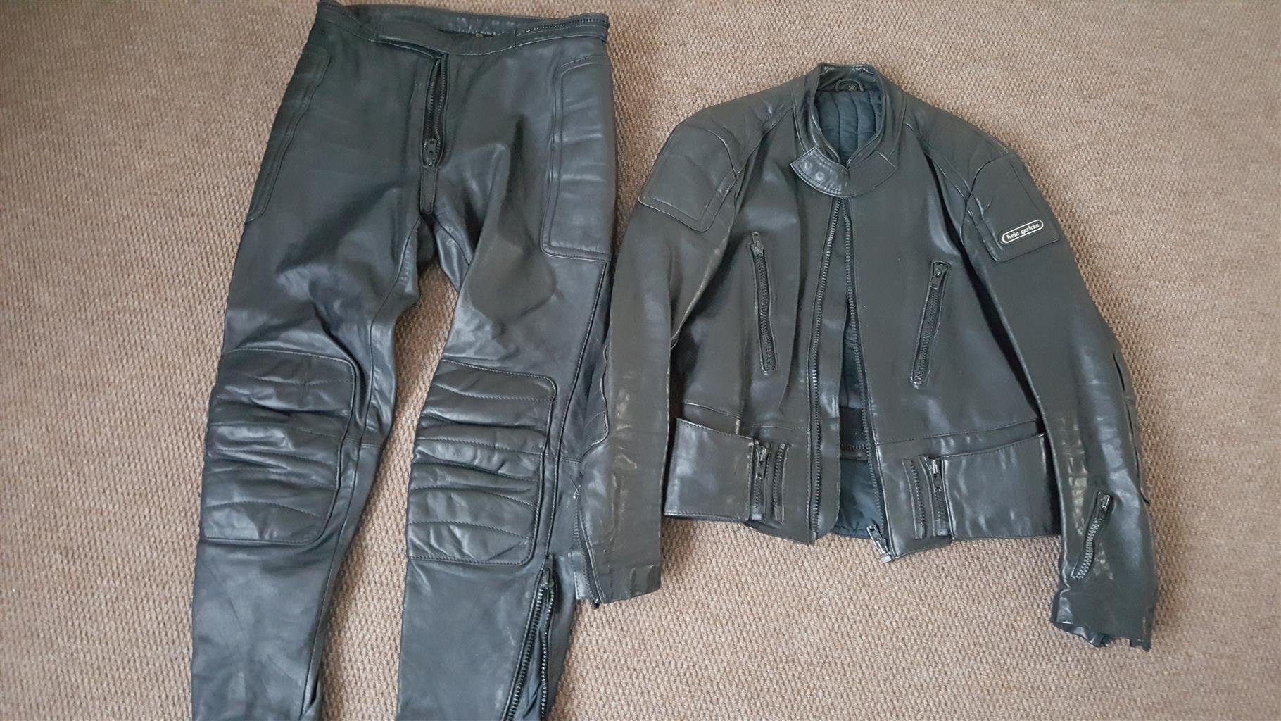 Leather jacket and pants set